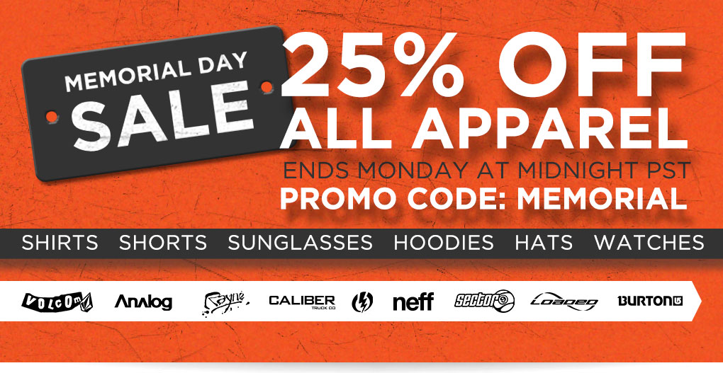 Memorial Day Sale - 25% Off All Apparel